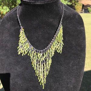 Unique peridot glass fringe necklace